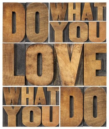 pasion: hacer lo que amas, ama lo que haces - abstract palabra motivacional en bloques de madera de �poca impresi�n tipogr�fica de tipo Foto de archivo