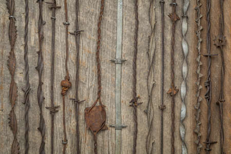 vintage rusty barbed wire collection against barn wood Stock Photo