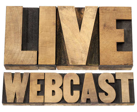 live webcast  - internet concept  - a collage of isolated words in vintage letterpress wood type printing blocks Stock Photo - 19323197