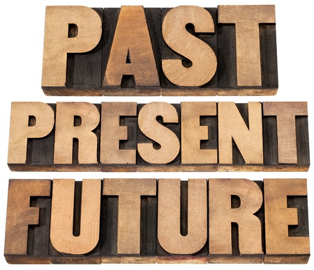 printing block block: past, present, future - a collage of isolated words in vintage letterpress wood type printing blocks