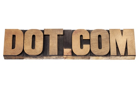 dot.com - internet business concept - isolated text in vintage letterpress wood type printing blocks Stock Photo - 19323199