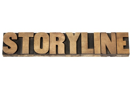 verhaallijn woord - gesproken tekst of storytelling concept - geïsoleerde tekst in vintage boekdruk hout soort cliches Stockfoto