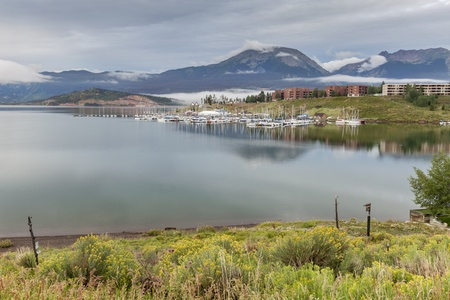 lake flowers: Lake Dillon in Colorado Rocky Mountains, early morning in summertime