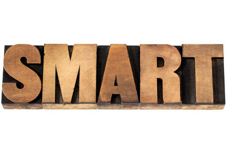 smart word - isolated text in vintage letterpress wood type printing blocks Stock Photo - 19323205