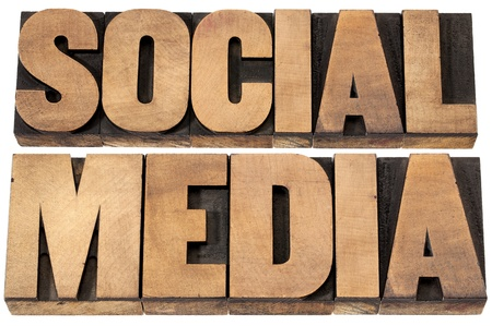 social media - isolated text in vintage letterpress wood type printing blocks Stock Photo - 19323233