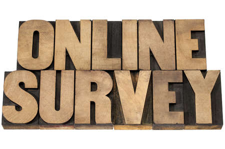 online survey: online survey - isolated text in vintage letterpress wood type printing blocks Stock Photo