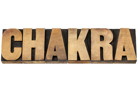 chakra energy: chakra word - life force or vital energy concept - isolated text in letterpress wood type printing blocks