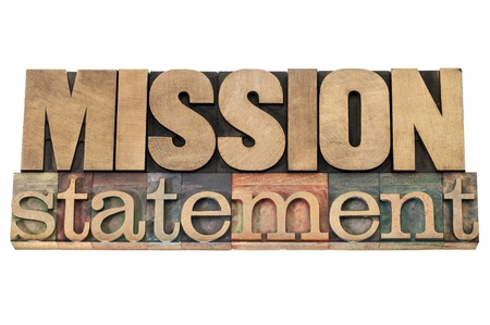mission statement - business concept - isolated text in letterpress wood type printing blocks Imagens - 19683970