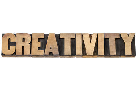 creativity: creativity word - isolated text in letterpress wood type printing blocks