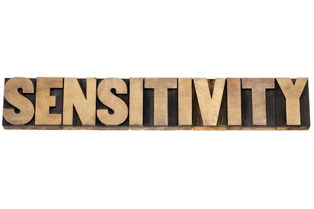 sensitivity word - isolated text in letterpress wood type printing blocks Stock Photo - 19684003