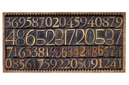 wood type: box of numbers - numerical abstract - a variety of letterpress wood type printing blocks Stock Photo