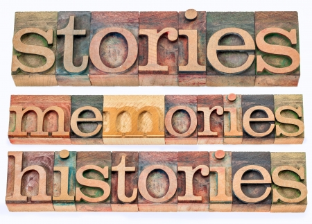 stories, memories, histories words - collage of isolated text in letterpress wood type printing blocks photo