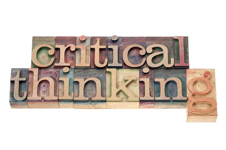 critical thinking  - isolated text in letterpress wood type printing blocks photo
