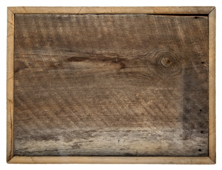 rough blank barn wood board sign with a frame isolated on white photo