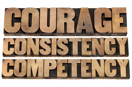 courage, consistency, competency - 3 Cs concept of character based leadership - isolated text in vintage letterpress wood type Stock Photo - 20046932