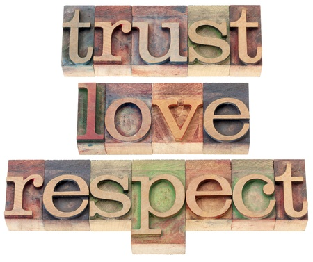 trust, love, respect words  - relationship concept  - isolated text in letterpress wood type Stock Photo - 20300409