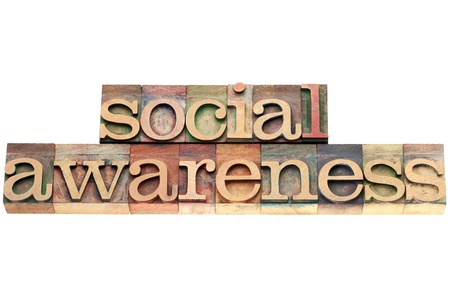 social awareness - isolated text in letterpress wood type Stock Photo - 20300418