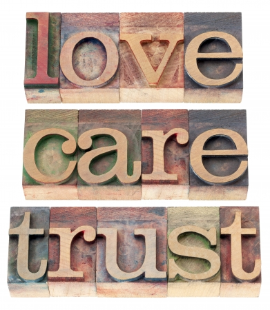 printing block: trust, love, respect words  - relationship concept  - isolated text in letterpress wood type Stock Photo