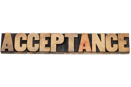 acceptance  word  - isolated text in letterpress wood type Stock Photo - 20383200