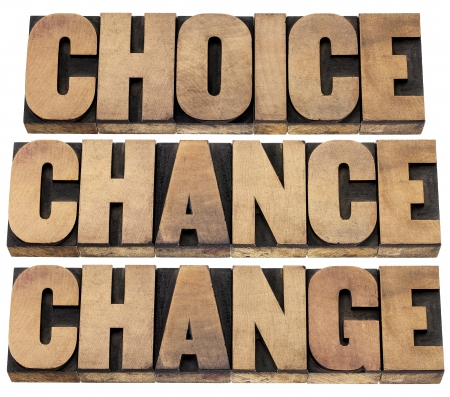 choice, chance and change words - 3 Cs in life concept  - isolated text in letterpress wood type Stock Photo - 20383170