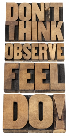 do not think, observe, feel and do - motivational advice - a collage of isolated text in letterpress wood type Stock Photo - 20383171