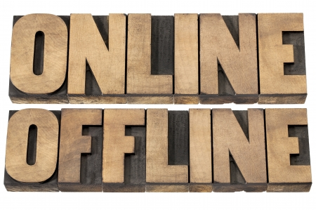online and offline words - internet concept - isolated text in letterpress wood type Stock Photo - 20383162
