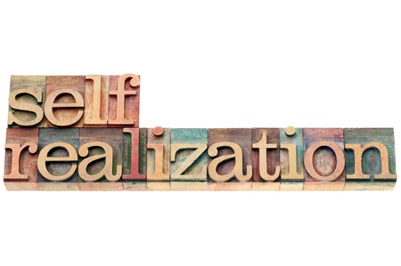 self-realization word  - spiritual concept - isolated text in letterpress wood type photo