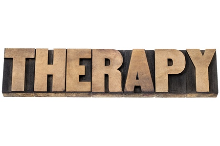 therapy word - healthcare concept  - isolated text in letterpress wood type Stock Photo - 20383204
