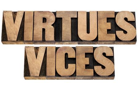 bondad: virtudes y vicios - concepto de la ética-collage de texto aislado en el tipo de madera