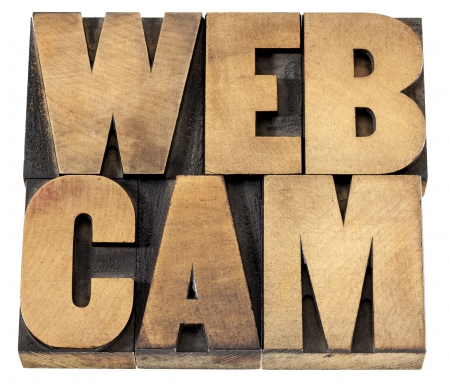 webcam - web video camera - isolated text in letterpress wood type Stock Photo - 20383159