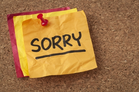 apology: sorry apology - handwriting on a orange sticky note