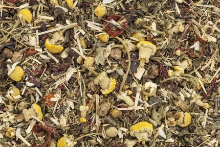 background of organic herbal tea - chamomile, peppermint,,orange peel, rose hips, hibiscus, Stock Photo - 20440005