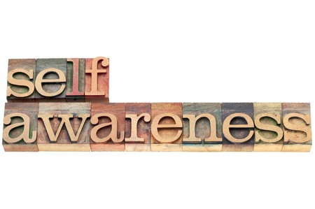 self-awareness word  - spiritual concept - isolated text in letterpress wood type Stock Photo - 20439994