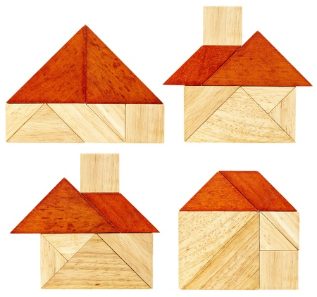 four abstract pictures of a house with a red roof built from seven tangram wooden pieces, a traditional Chinese puzzle game Stock Photo - 20440003