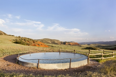 cattle water tank in Colorado mountain ranch - Red Mountain Open Space near Fort Collins Stock Photo - 20440009