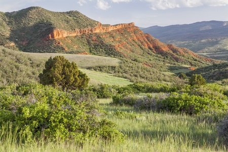 red mountain open space: Colorado mountain ranch in early summer - Red Mountain Open Space near Fort Collins Stock Photo