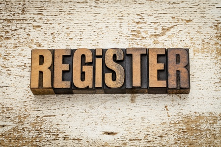 register word in vintage letterpress wood type on a grunge painted barn wood background Stock Photo - 20832301