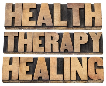 health, therapy and healing words - a collage of  isolated text in vintage letterpress wood type printing blocks Stock Photo - 20832367