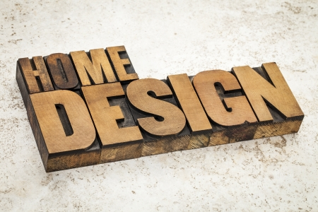 home design  text in vintage letterpress wood type on a ceramic tile background Stock Photo - 21642183