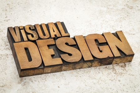 visual design  text in vintage letterpress wood type on a ceramic tile background Stock Photo - 21641829
