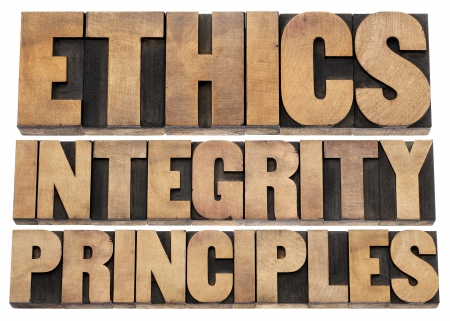 ethics, integrity and principles word abstract - isolated text in vintage letterpress wood type photo