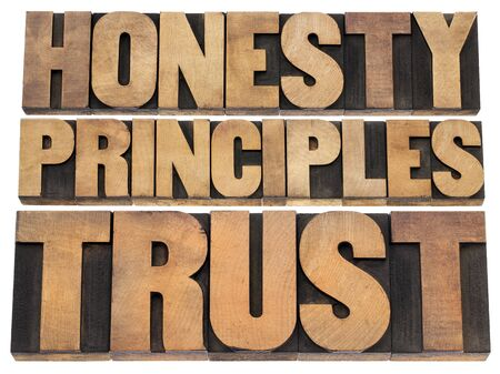 honesty, principles and trust word abstract - isolated text in vintage letterpress wood type photo