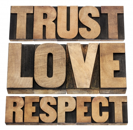 trust, love and respect word abstract - isolated text in vintage letterpress wood type 写真素材