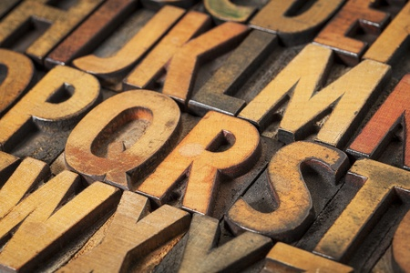 prinitng block: alphabet abstract in vintage letterpress wood type printing blocks Stock Photo