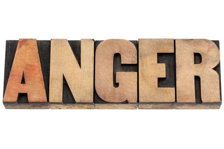prinitng block: anger word  - isolated text in vintage letterpress wood type Stock Photo