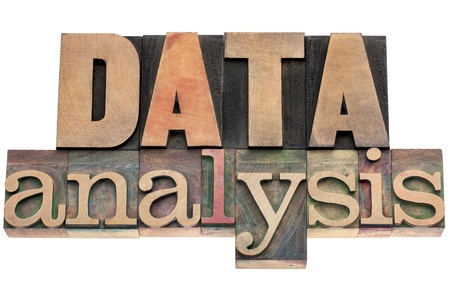 wood type: data analysis- isolated text in vintage letterpress wood type Stock Photo