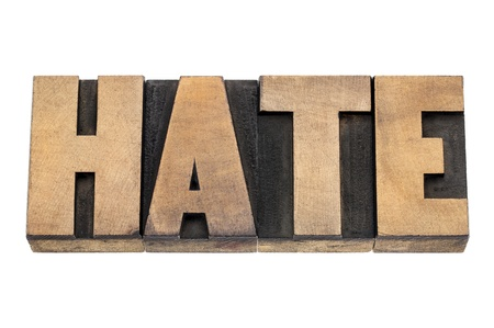 prinitng block: hate word  - isolated text in vintage letterpress wood type