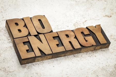 prinitng block: bioenergy word in vintage letterpress wood type on a ceramic tile background