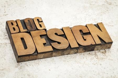 blog design  text in vintage letterpress wood type on a ceramic tile background Stock Photo - 21642219