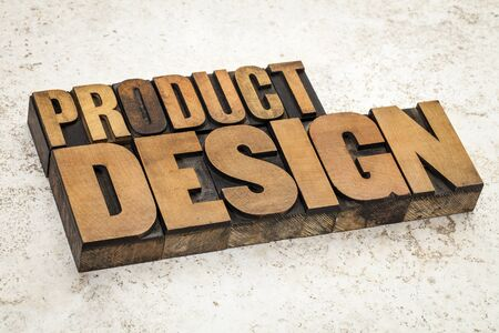 product design  text in vintage letterpress wood type on a ceramic tile background Stock Photo - 21642224